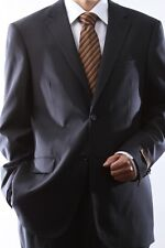 MENS 2 BUTTON SUPER 140S WOOL NAVY SUIT FLAT FRONT, 40412N-40403-NAV