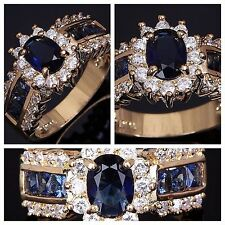 Fashion Womens Blue Sapphire Cz 18K Gold/White Gold Filled Wedding Rings Bridal