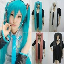 Vocaloid Hatsune Miku + 2 Ponytails Blue Green Cosplay Anime Long Wig Gift UK s4