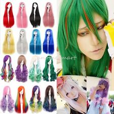Mixed Multi-Color Curly Long Hair Anime Cosplay Wig Fancy Party Dress Costume #N
