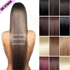 "New Item Clip In 100% Real Remy Human Hair Extensions Full Head 16""18""20""22""J637"