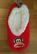 PAUL FRANK WOMEN'S MONKEY RED BOOTIE PLUSH SLIPPERS NWT