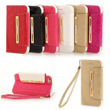Luxury Diamond Leather Flip Wallet Card Case Cover Stand For iPhone 5s 6 6S Plus