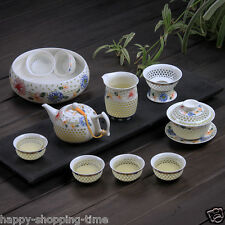 China porcelain tea set floral print hollow-out design tea pot cups gaiwan bowl