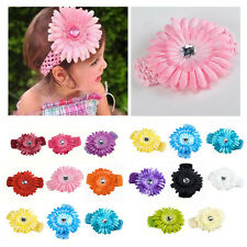14 Color New Baby Girl Boy Toddler Croche Headband Hairband&Daisy Flower Clip AM