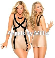 Black Nude Bodycon Dress Women Plus Strappy Club Mini Party Cocktail Holiday