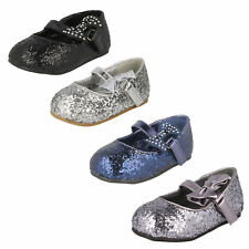 Girls Spot On Sequined Sparkly Flat riptape Fastening Shoes with Bow - H2305S