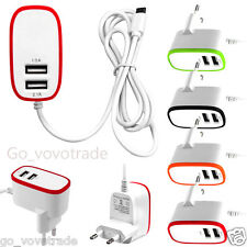 Triple USB 2 Port 3.1A Wall Travel Home AC Power Charger Cable Adapter EU Plug