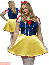 Ladies Fever Curves Fairytale Costume Adults Plus Size Snow White Fancy Dress