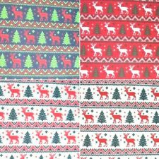 Xmas Stripes Reindeers Christmas Trees Festive Polycotton Fabric