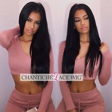 Indian Remy Human Hair Lace Front Wigs Black Women Silky Straight Full Lace Wig