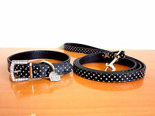 Pu Leather Rhinestone Heart Charm Pet Cat Dog Puppy Collar + Pet Leash lead Set