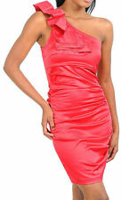 S M L Dress Cocktail Fuchsia Formal Sateen Satin Bow Pleated One Shoulder Ruffle