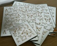 Set x 4 Mirrored Glass Gold Sparkle Butterfly Design Placemats and Coasters