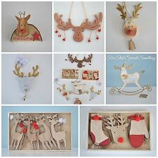 Shabby Chic wooden Reindeer Rudolph Christmas tree decorations