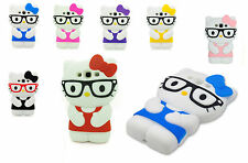 New 3D Cute Kitty Cartoon School Geek Nerd Glasses Phone Case For SAMSUNG S3 UK