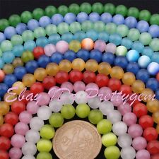 """8mm Smooth Round Cat Eye Opal Gemstone For Jewelry Making Beads 15"""" Pick Color"""