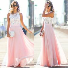 Stylish Women Cap Sleeve Maxi Floral Hollow Patchwork Party Slim Long Dress New
