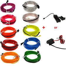 1/2/3/4/5M LED LIGHT EL WIRE ROPE FLEXIBLE NEON GLOW CAR PARTY+3/12V CONTROLLER
