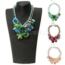 Women Fashion Jewelry Enamel Choker Statement Bib Pendant Necklace Earring Set