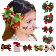 Xmas Halloween Headpiece Big Hair Bow Clips Ribbon Bow Girls Hair Accessories