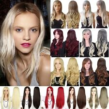 Women Long Curly Straight Full Head Wigs Cosplay Party Daily Fancy Dress Ombre D