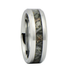 Unisex Camo Hunting Brown/Green Camouflage 7mm Tungsten Wedding Band Ring