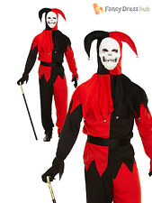 Mens Evil Jester Costume Harlequin Halloween Fancy Dress Circus Scary Clown