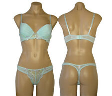Affordable Blue Mesh Lace Lightly Padded Bra & Panty Set Size 34C 36C& M NWT