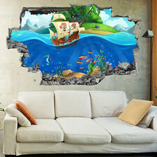 Kids Salior Pirate Sea Ships Childrens 3D Wall Mural Boys Bedroom Wallpaper 1128