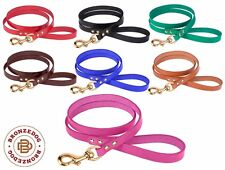 Leather Dog Leash 4 Foot Lead Puppy Small Large Black Brown Red Green