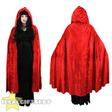 RED HOODED VELOUR CAPE VAMPIRE HALLOWEEN ADULTS FANCY DRESS CLOAK WOMENS MENS