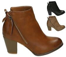 LADIES MID BLOCK HEEL ZIP COWBOY RIDER WOMENS FAUX LEATHER ANKLE BOOTS SIZE