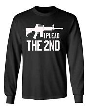 I Plead The 2nd Black Long Sleeve Shirt Amendment AR-15 Rifle Weapon Gun Control