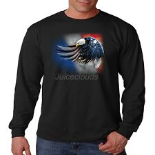 Patriotic Long Sleeve Shirt Flying American Eagle USA Flag