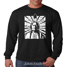 Native American Long Sleeve Shirt Sitting Bull Indian Chief Feathers Tribe