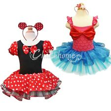 Girl Kids Minnie Mouse Mermaid Costume Ballet Tutu Fancy  Dress Up Age 1-10Years