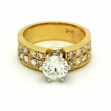Round Cut Prong set Diamond GIA 1.89 Carat total Engagement Ring Antique Style