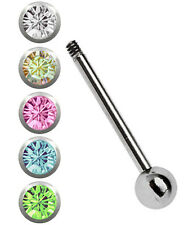 SET Titan Tongue piercing Rod Barbell 1,6mm Bar with 5 colours Balls 12-18mm