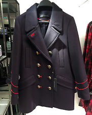 ZARA WOOL MILITARY STYLE COAT NAVY BLUE XS-XL REF. 7674/744
