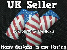 BOX OF 70 FALSE FAKE ACRYLIC FRENCH FULL NAILS TIPS ART USA FLAG STARS & STRIPES