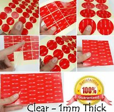 CLEAR - 1mm Thick - 3M VHB Acrylic Foam Tape SQUARES - Adhesive SMALL & X-LARGE!
