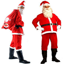 5Pcs Santa Suit Set Santa Claus Costume Adult Christmas Fancy Dress Costumes