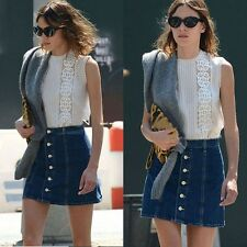 Fashion Women High Waisted Button-Down Slim Denim A-Line Mini Skirt Dark Blue