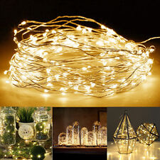 50/100 LEDS String Battery Operated 5M/10M Copper Silver Wire Fairy Light Xmas