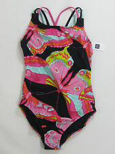 NWT Girls Gap Kids Size 10 Black & Pink Butterfly Swimsuit Bathing Suit