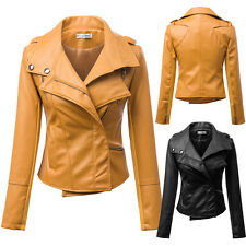 Stylish Women Faux Leather Short Slim Fit Jacket Casual Coat Motorcycle Outwear