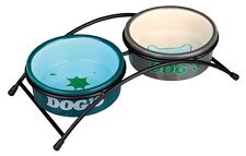 Pet Dog Food Water Dish 2 Ceramic Bowls with Anti Skid Stand by TRIXIE