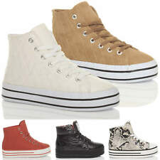 WOMENS LADIES FLATFORM PLATFORM LACE UP HI-TOP TRAINERS SNEAKERS ANKLE BOOT SIZE