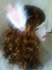 Pink & White Diamond 1920's Gatsby Peacock Feather Hair Clip/Slide